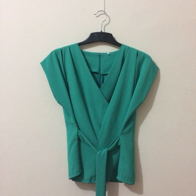 Teal Wrap Blouse