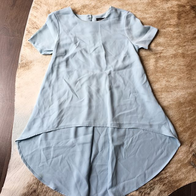 Topshop baby blue top with longer back details size 6