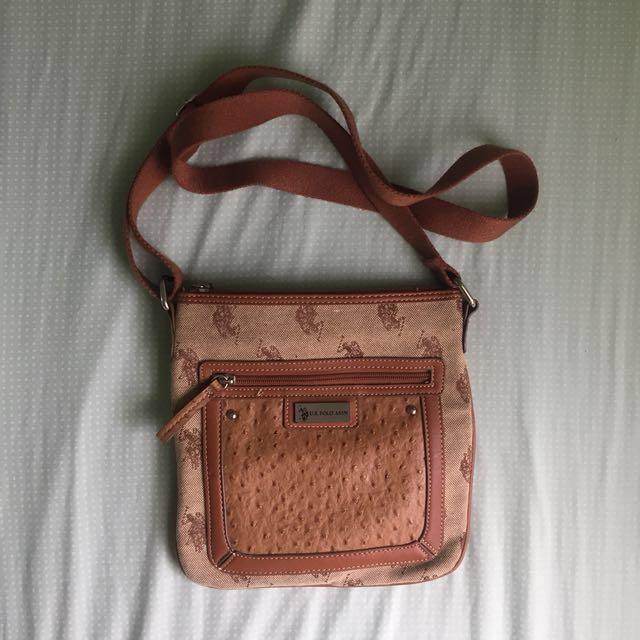[US POLO ASSN] Brown Crossbody Satchel Bag