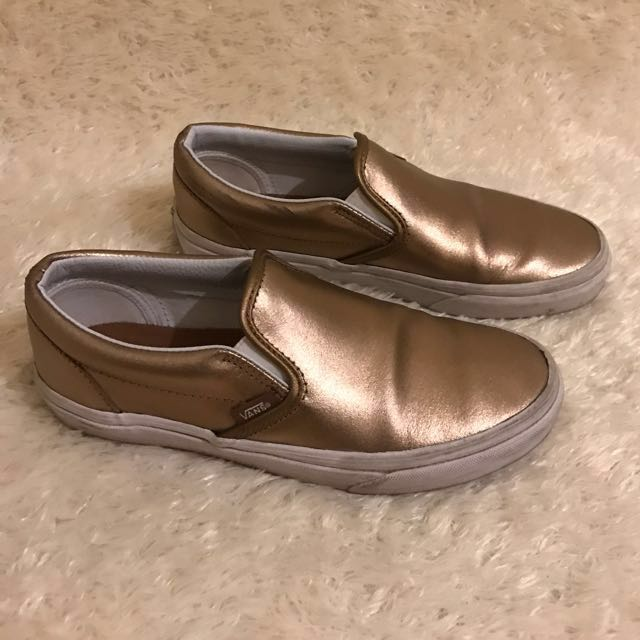 d656a0e081 Vans Rose Gold Slip Ons 7.5 Metallic Leather Sneakers REPRICED ...
