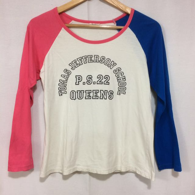 White Shirt with Pink and Blue Long Sleeves