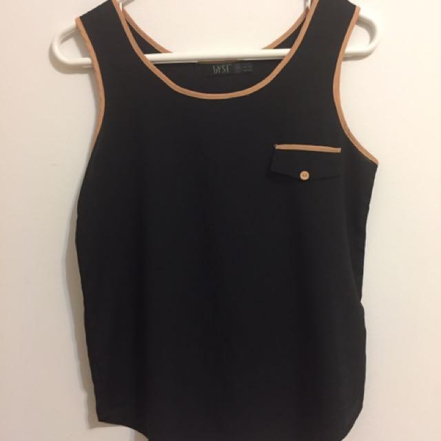 Women's Black Chiffon Tank with tan outline & front faux pocket