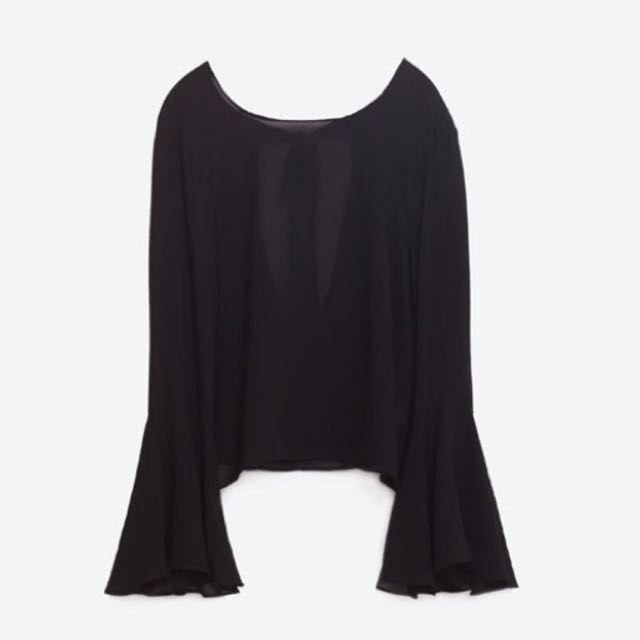 d92090f0183467 ZARA black bell sleeves blouse, Women's Fashion, Clothes, Tops on Carousell