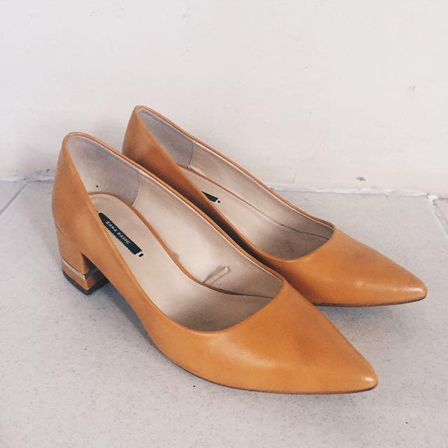Zara Mustard Block Heels