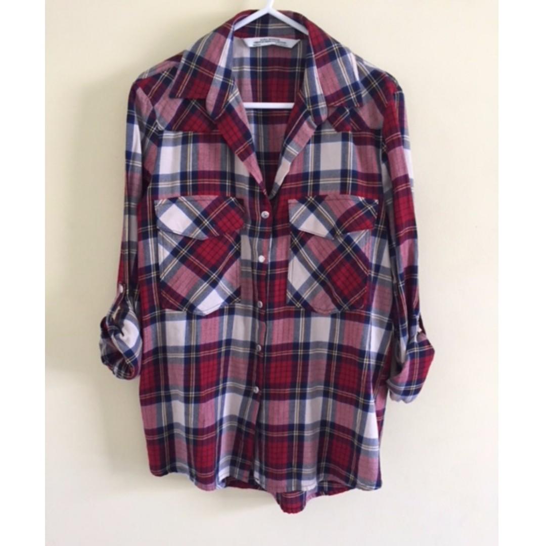 ZARA Plaid Top Blouse - Red & White - XS - Tartan - BNWOT