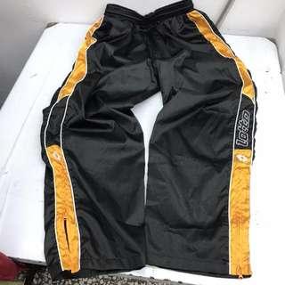 古著 意大利 lotto 撞色 拼接 緞面 亮面 電繡LOGO 休閒褲 拉鏈式 運動褲