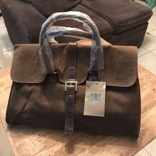 Zara brown suede bag 💼 x hand bag x office bag