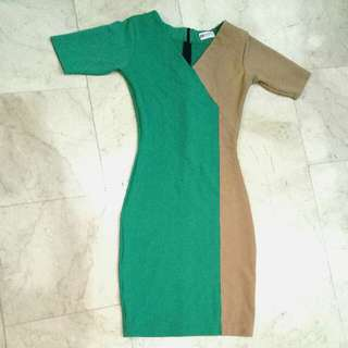 Apple Green & Light Brown body fit office / formal long three fourths sleeves V neck dress with zipper 😍😍😍 stretchable (I HAVE MORE DRESSES LIKE THIS ON MY ACCOUNT)
