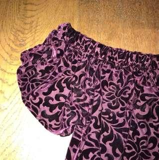 magenta purple velvet off the shoulder top