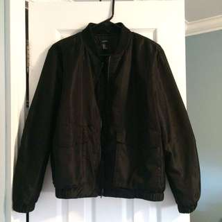 F21 Black Bomber Jacket