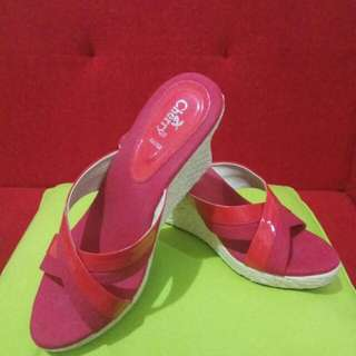 Pinky pinkyyy nih Cherry wedges sandal size 39 (standar)