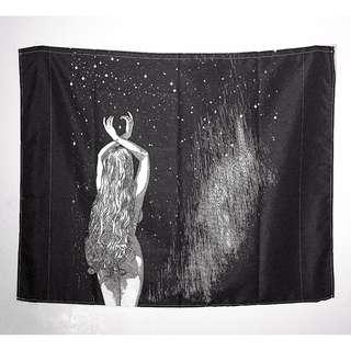<流星>100cm*125cm鋼筆墨水黑白性感裸女前衛文藝搖滾性感 藝術 掛布 布掛 門簾 桌布野餐墊沙灘巾蓋布掛毯 房間布置 房間裝飾