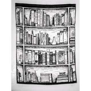 <書櫃>100*125cm 黑白素描漫畫前衛文藝搖滾 藝術 掛布 布掛 門簾 桌布野餐墊沙灘巾蓋布掛毯 房間布置 房間裝飾