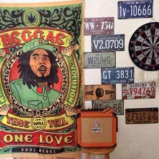 🚚 <BOB Marley>雷鬼reggae 牙買加 weed chill 前衛文藝藝術掛布 門簾 蓋布掛毯房間布置酒吧裝飾