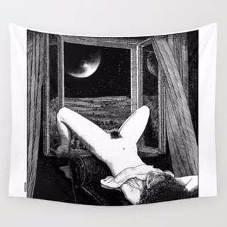 <月光>80*100cm鋼筆墨水黑白性感裸女前衛文藝性感 藝術 掛布 掛毯 門簾 桌布野餐墊沙灘巾蓋布 房間布置 房間裝飾
