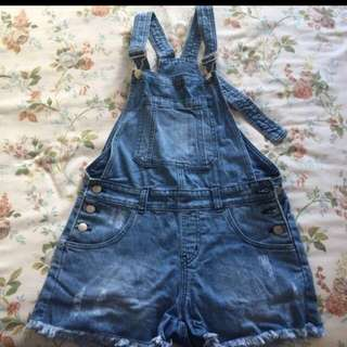 Overall Denim Shorts