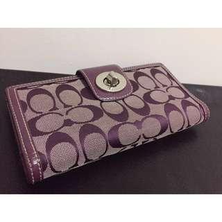 COACH 皮夾 長夾 錢包 紫色 滿版 雙C