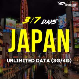 3/7/8 Days Japan Unlimited Data Prepaid SIM Card