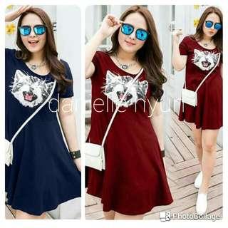 🐊Kitten print plus size tee shirt dress