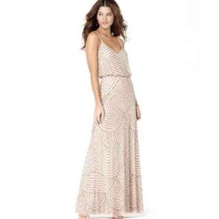 Adrianna Papell Beaded Blouson Gown Blush Size 2