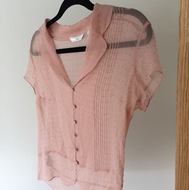 100% silk sheer pink top from MNG size S