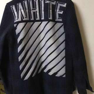 Off white藍色羊毛襯衫