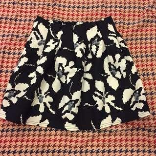 黑白花大百摺鬆緊短裙蓬裙