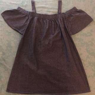 Denim Long Off-Shoulder Dress