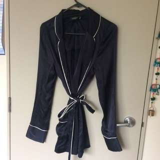 Silk Navy Blue Robe