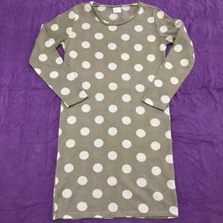 Polka Dotted Long Sleeves Dress