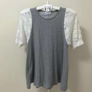 Grey Puffed Lace Sleeves Dress