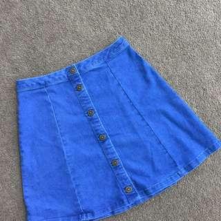 Blue soft denim skirt