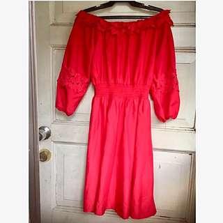 Red dress off shoulder