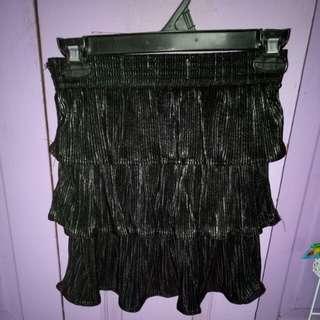 Black ruffled miniskirt