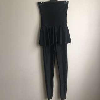 Black Silk Tutu Jumpsuit