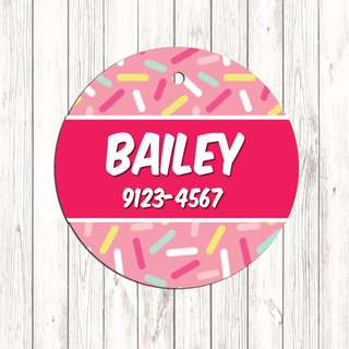 Pink sugar,  Pet tag , Pet ID , Dog , Cat , Handmade Customized , Personalized, Name , Clothing , Accessories , Pet Collars , Kids , Children , Key chain , keychain