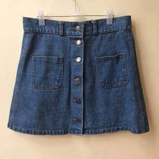Denim Buttondown Skirt