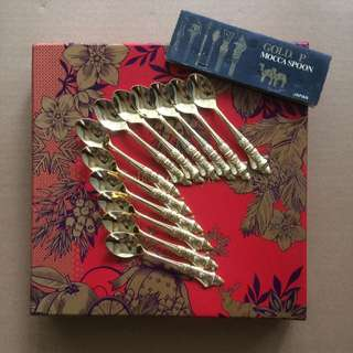 🆕12 pcs Japan Mocca gold plated spoon 1960