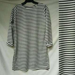 Stripe With Slit Dress