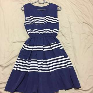 Blue & White Stripes Dress