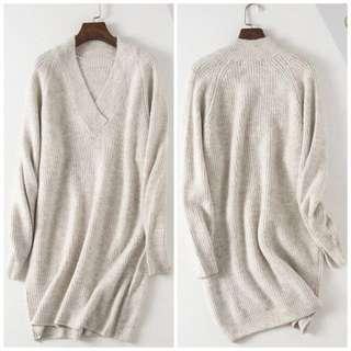 OshareGirl 11 歐美V領純色長版針織上衣洋裝