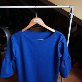 Royal blue trumpet sleeve blouse top