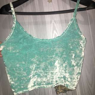 Top shop cropped velvet turquoise tank top