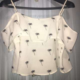 Palm tree off the shoulder cut tank