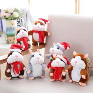 🚚 ¥小柴寶貝¥ 現貨【會說話的倉鼠】 聖誕款點頭倉鼠 回聲鼠 應聲娃娃 錄音 模仿老鼠  迴聲小倉鼠 回聲玩偶 兒童節禮物