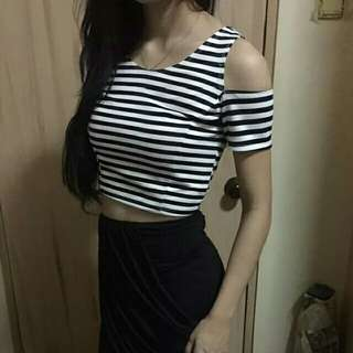 OFF SHOULDER CROP TOP (Black and White Stripes) (Jaguar / Cheetah / Animal Print with brown, gold & black colors) (NEXT in light pink or peach color) JUMPER SHORTS IS ALSO AVAILABLE 😉😉😉