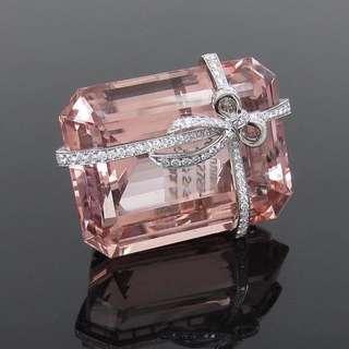 Rare Vintage Tiffany & Co France 97.27ct Morganite & 2.50ct Diamond Platinum High end Brooch/Pin (高訂蒂芬尼97.27卡拉摩根石2.5卡拉鑽石白金別針)