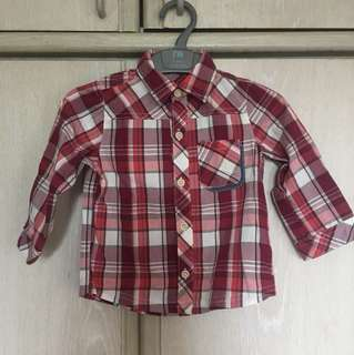RED MAROON CHECKED LONG SLEEVE