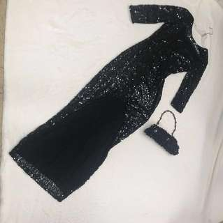 Sequin Dress With evening bag