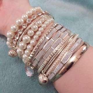 Sparkly Silver Bracelet Set